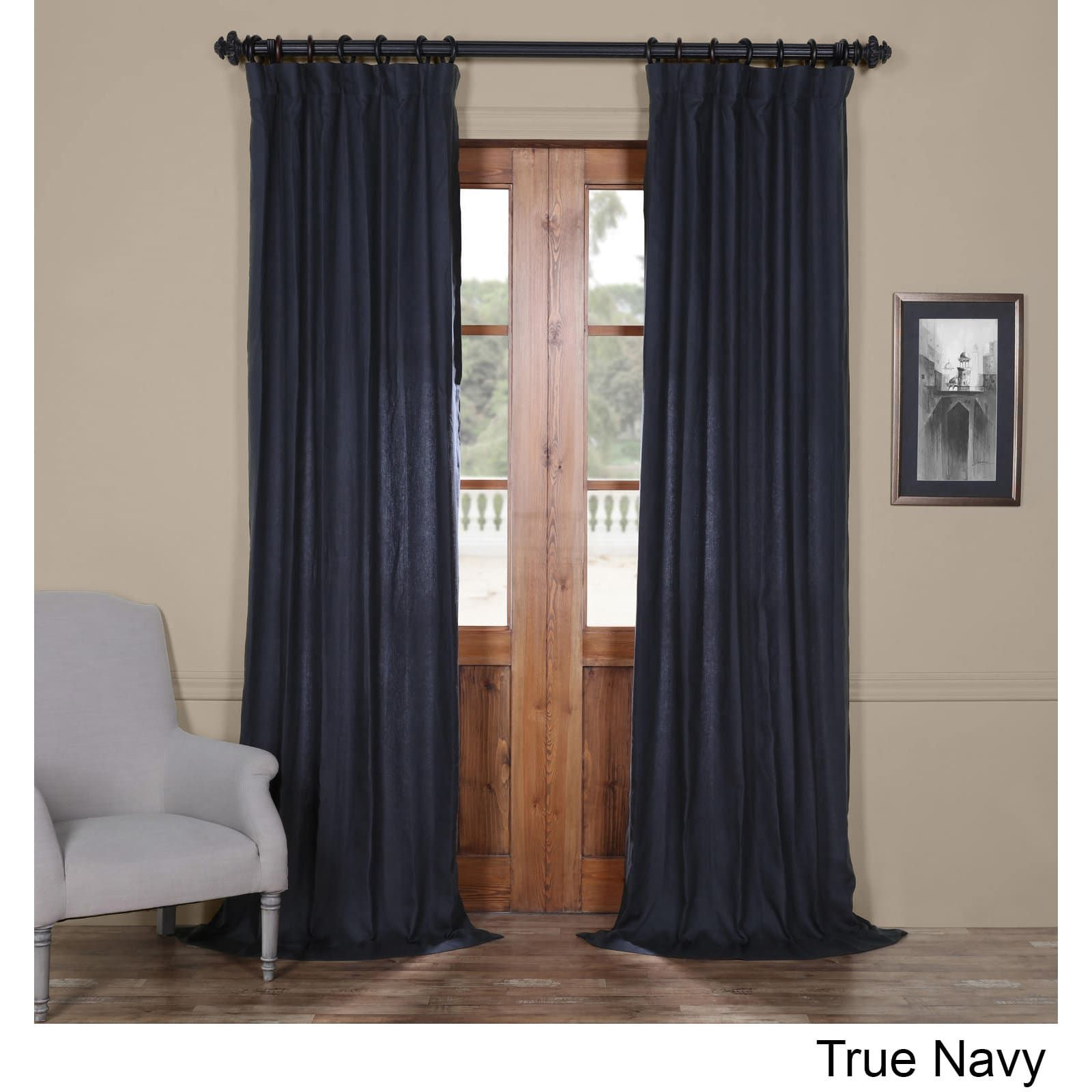 Exclusive Fabrics French Linen Lined Curtain Panel (True Navy