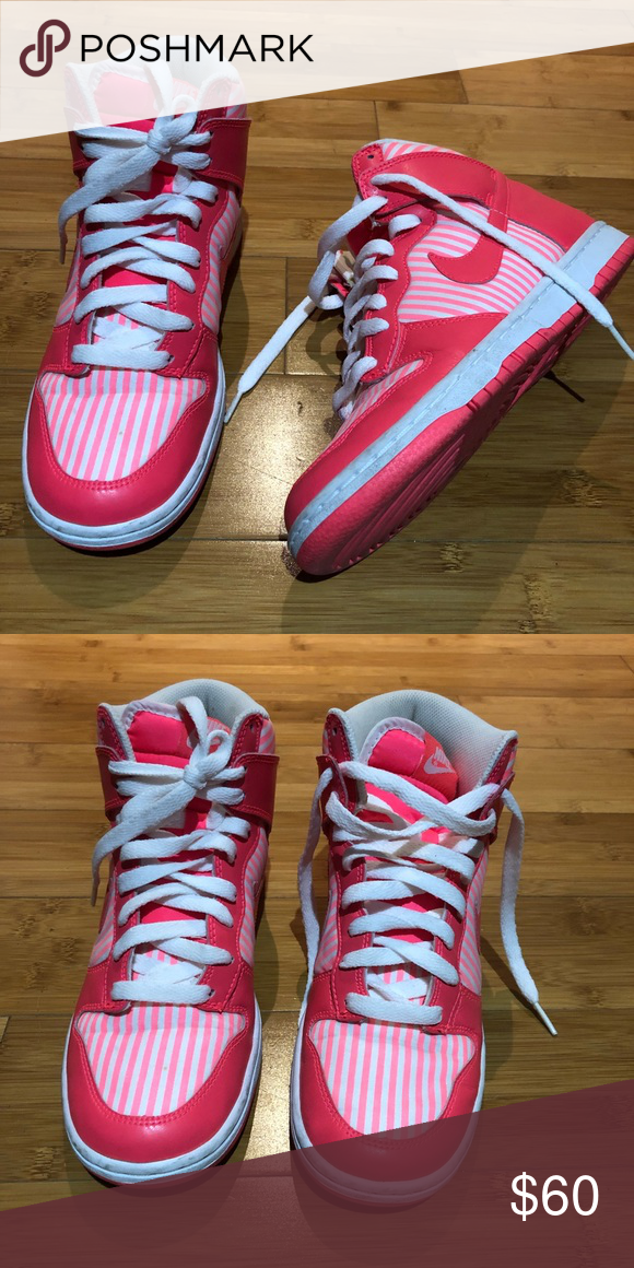 b8410e11b9af Nike hi top dunks size 6 Nike hi top dunks size 6 womens Super cute color  Like a neon pink with stripes Great used condition Nike Shoes Sneakers