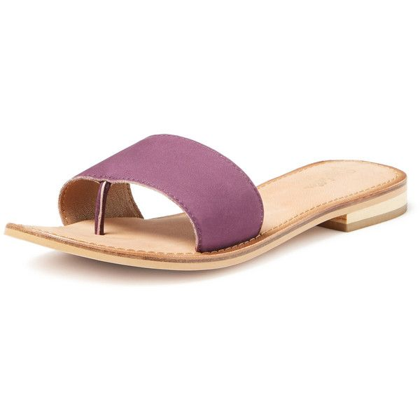 Seychelles It Girl Thong Sandal ($20) ❤ liked on Polyvore featuring shoes, sandals, purple, leather sandals, leather flats, leather thong sandals, flat shoes and metallic sandals