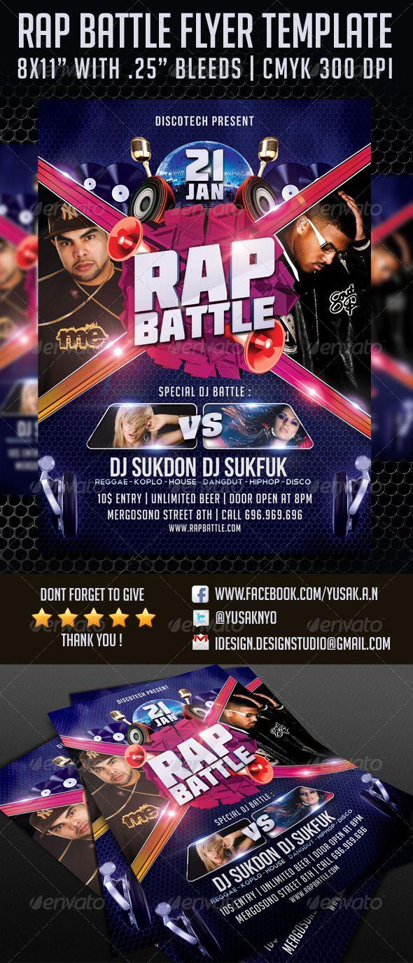 Rap Battle Flyer Template   Rap battle and Flyer template