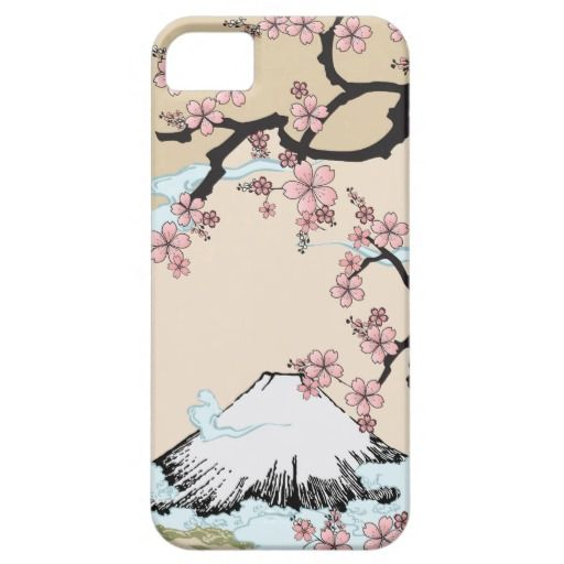 iPhone case inspired by traditional Japanese art and Kimono - Fuji mountain and Sakura Tree