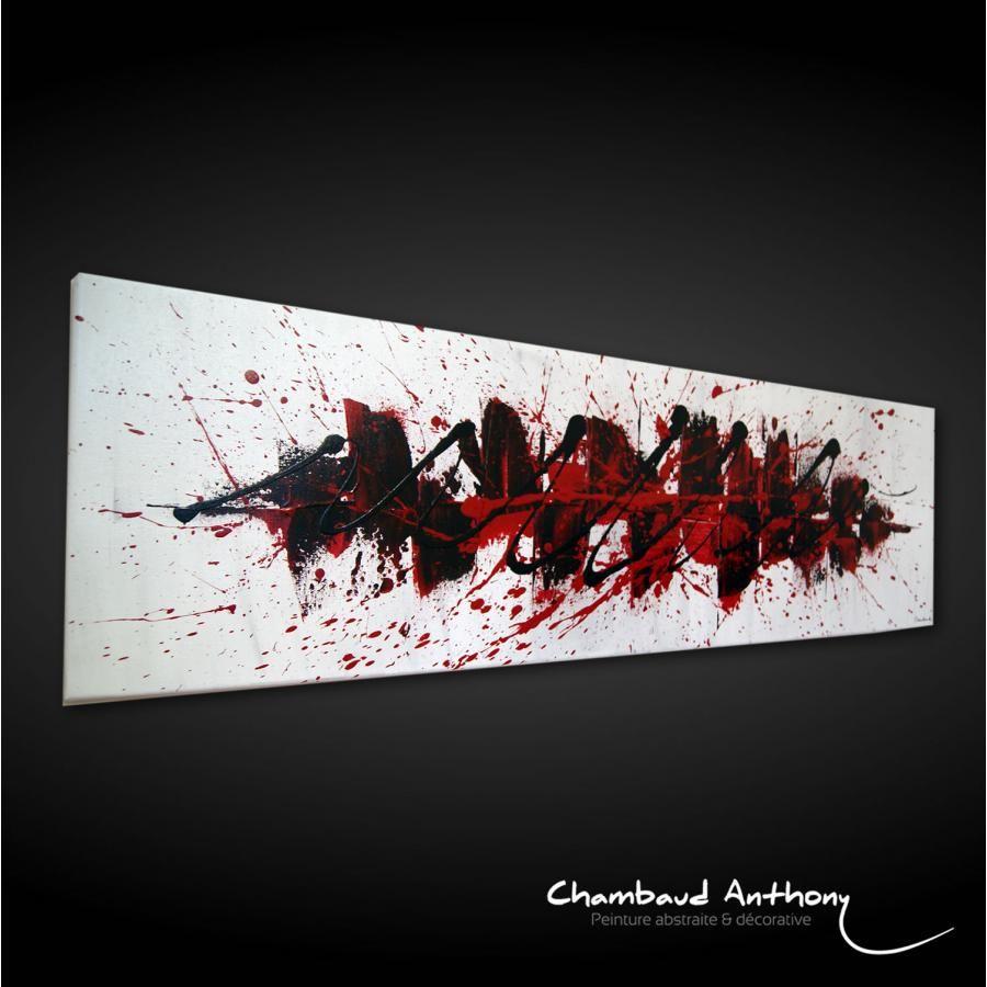 Tableau rouge et noir tableau abstrait toile abstraite - Tableau rouge noir gris moderne ...