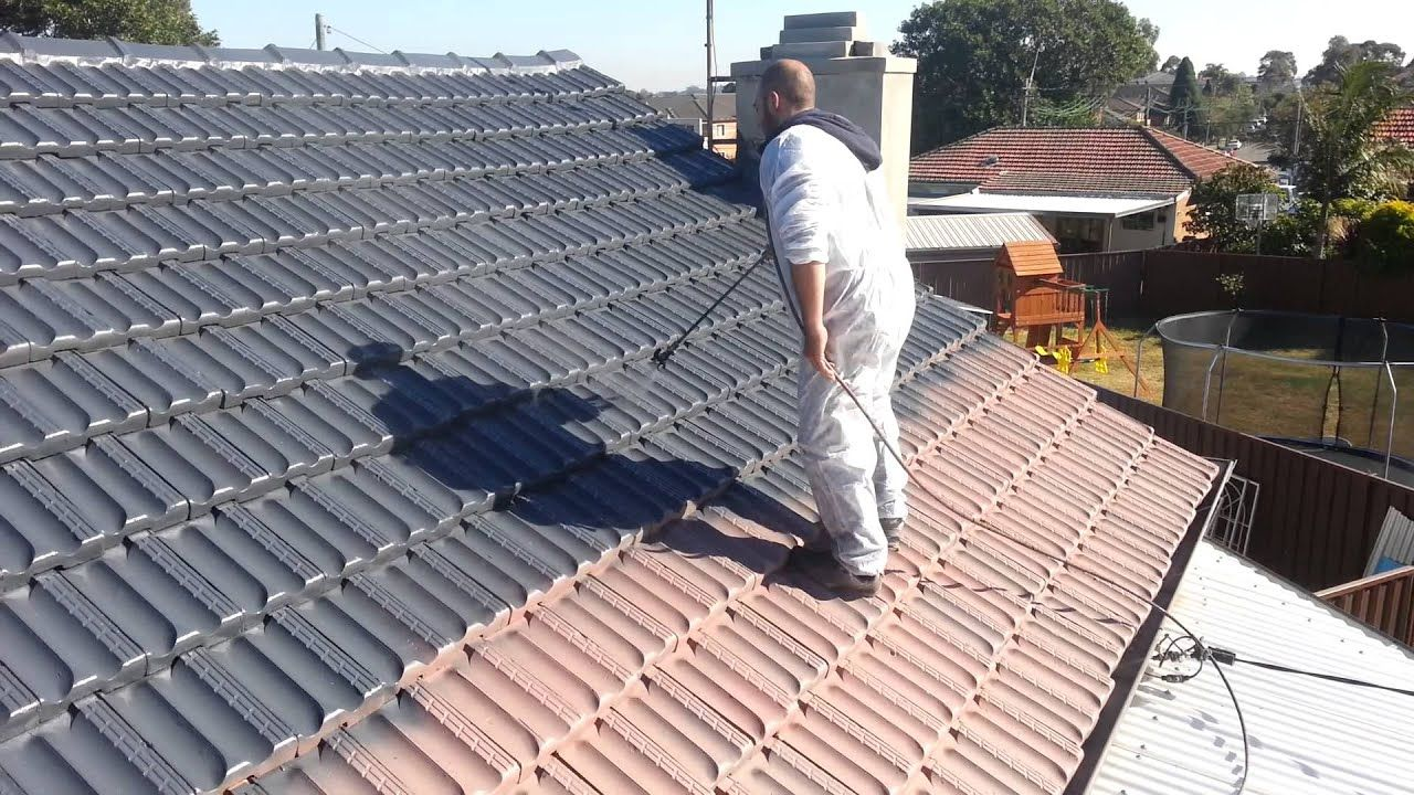 Painting Terracotta Roof Tiles Step 4 Applying Dulux Paint Able Roof R In 2020 Roof Paint Roof Restoration Roof Tiles