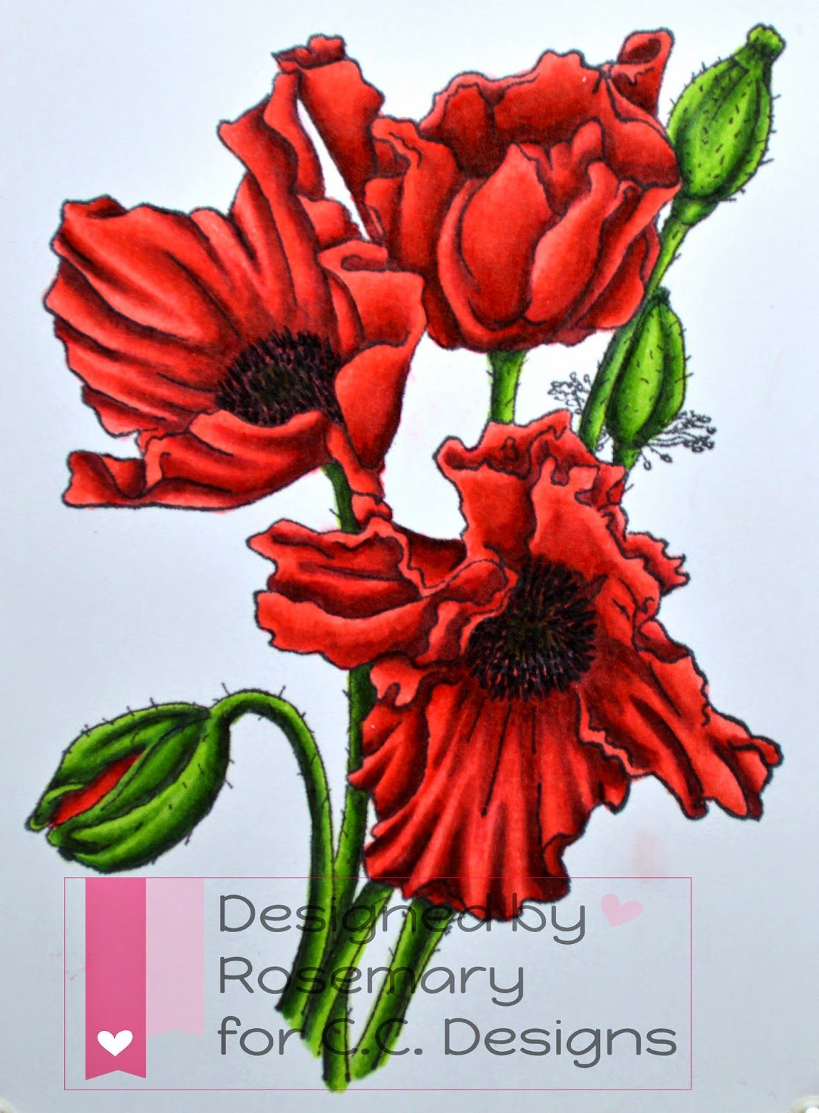 Rosemary's Creations - Red: R22, R24, R27, R29, R59 Green: G21, G28, YG23, YG67, C7 Inside of poppies: C7, Black