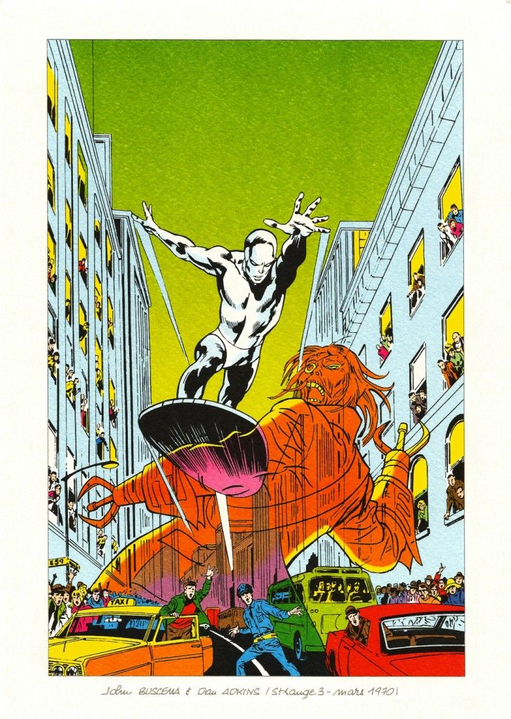 From Strange issue 3, March 1970 Artwork by John Buscema and Dan Adkins Recoloured artwork originally featured on the cover of The Silver Surfer issue 8, September 1969