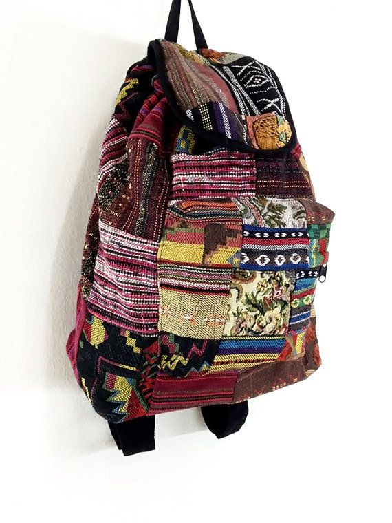 Woven Bag Patchwork Cotton Bag Hippie bag Hobo bag Boho bag Backpack Tote bag Travel Bag Purse School bag Everyday bag Women bag Handbags on Etsy, £11.06