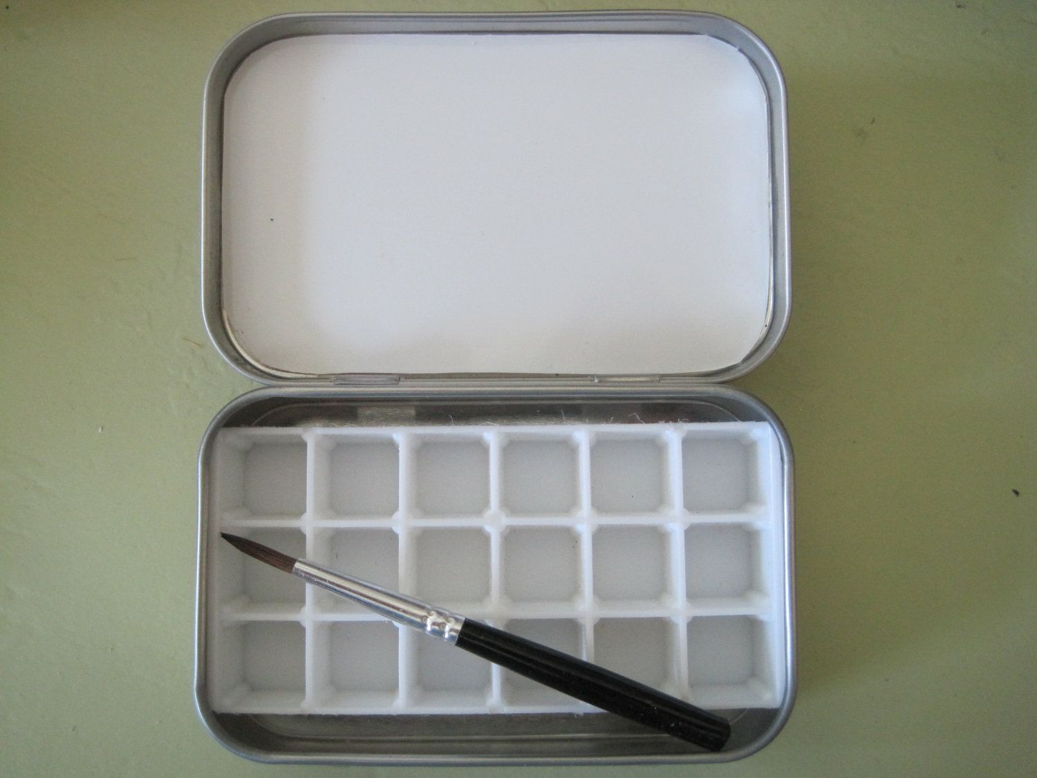Small Watercolor Paint Tin Box W Brush For Travel By Kkubov