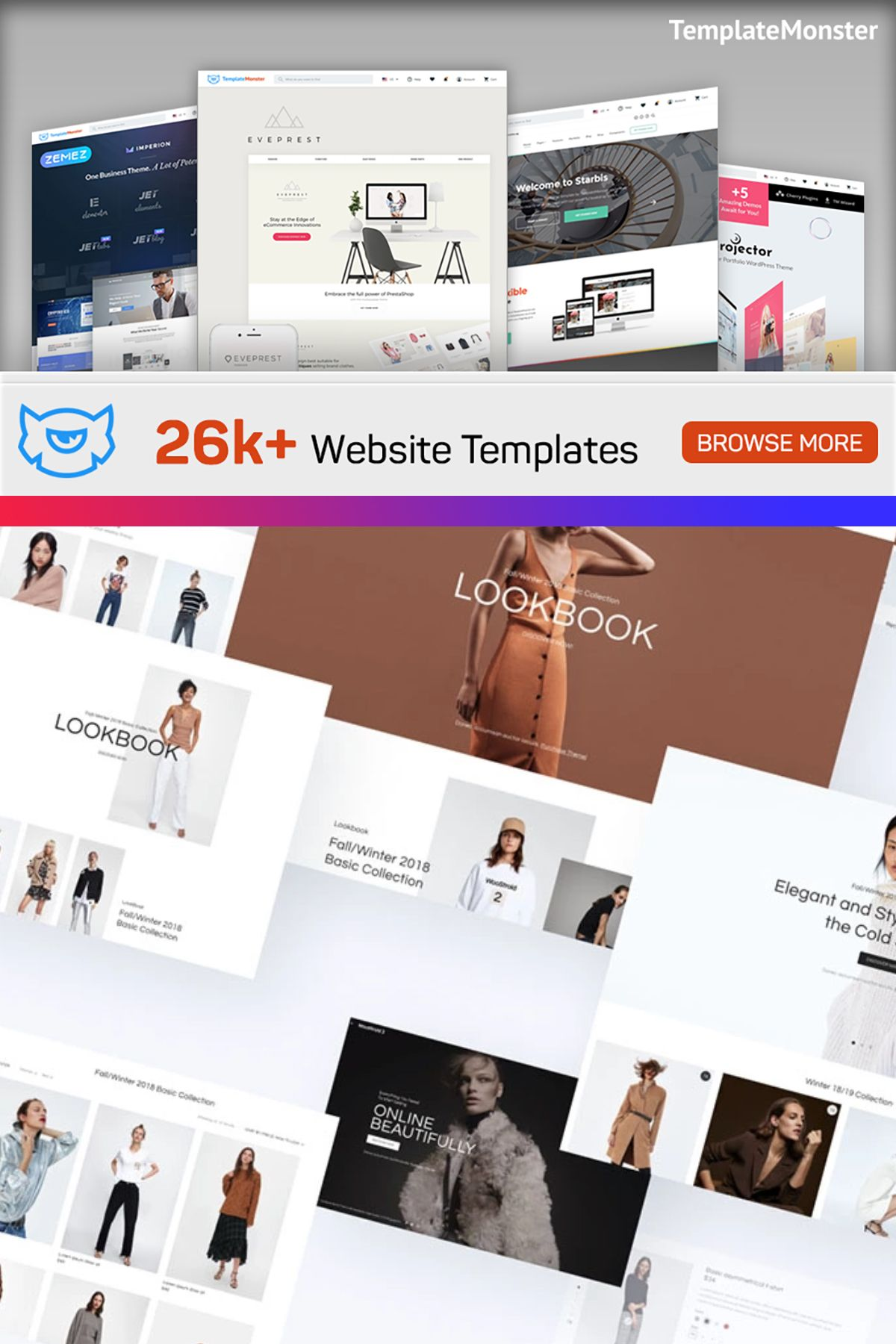 Wide selection of premium themes for all popular CMSs