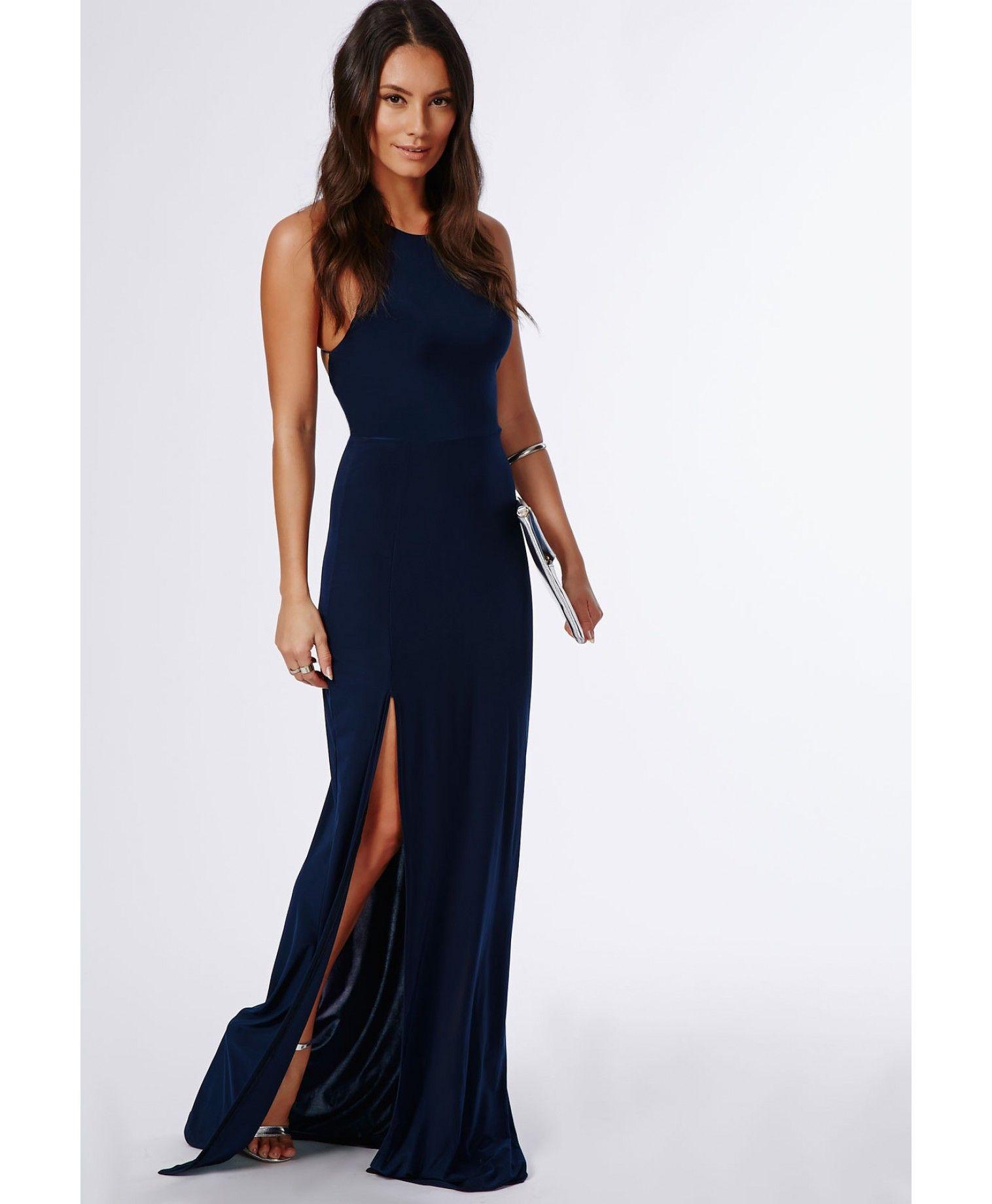 Nora Navy High Neck Maxi Dress - Dresses - Maxi Dresses - Missguided ... ef17a0f47