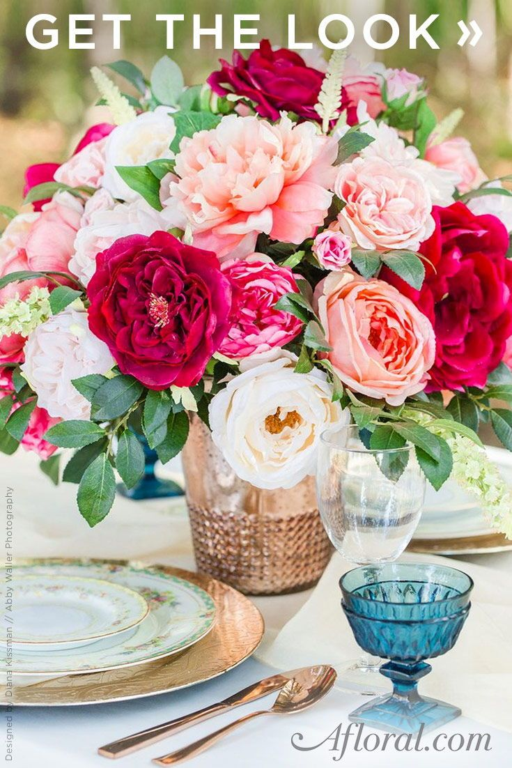 Get The Look Pink Silk Flower Arrangement For Wedding Centerpieces
