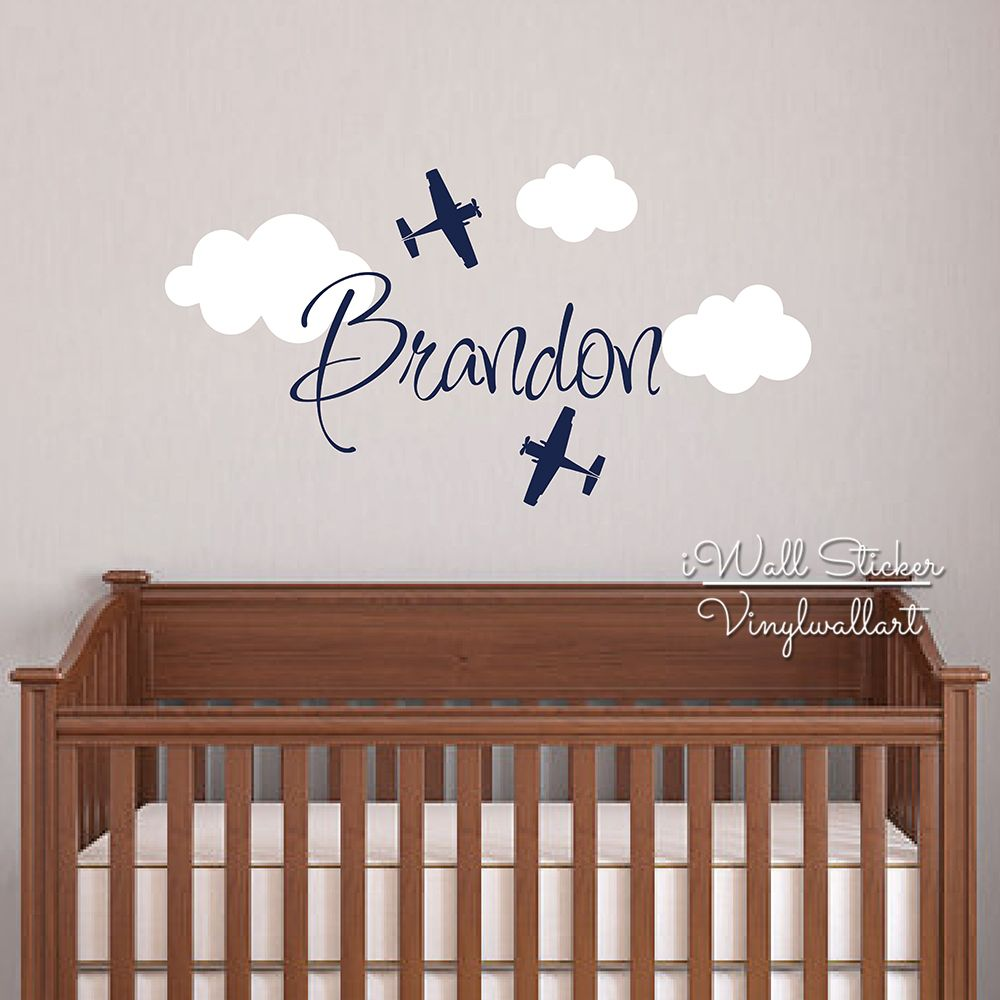Custom Name Wall Sticker Kids Room Baby Nursery Airplane Name Wall - Custom cut vinyl wall decals