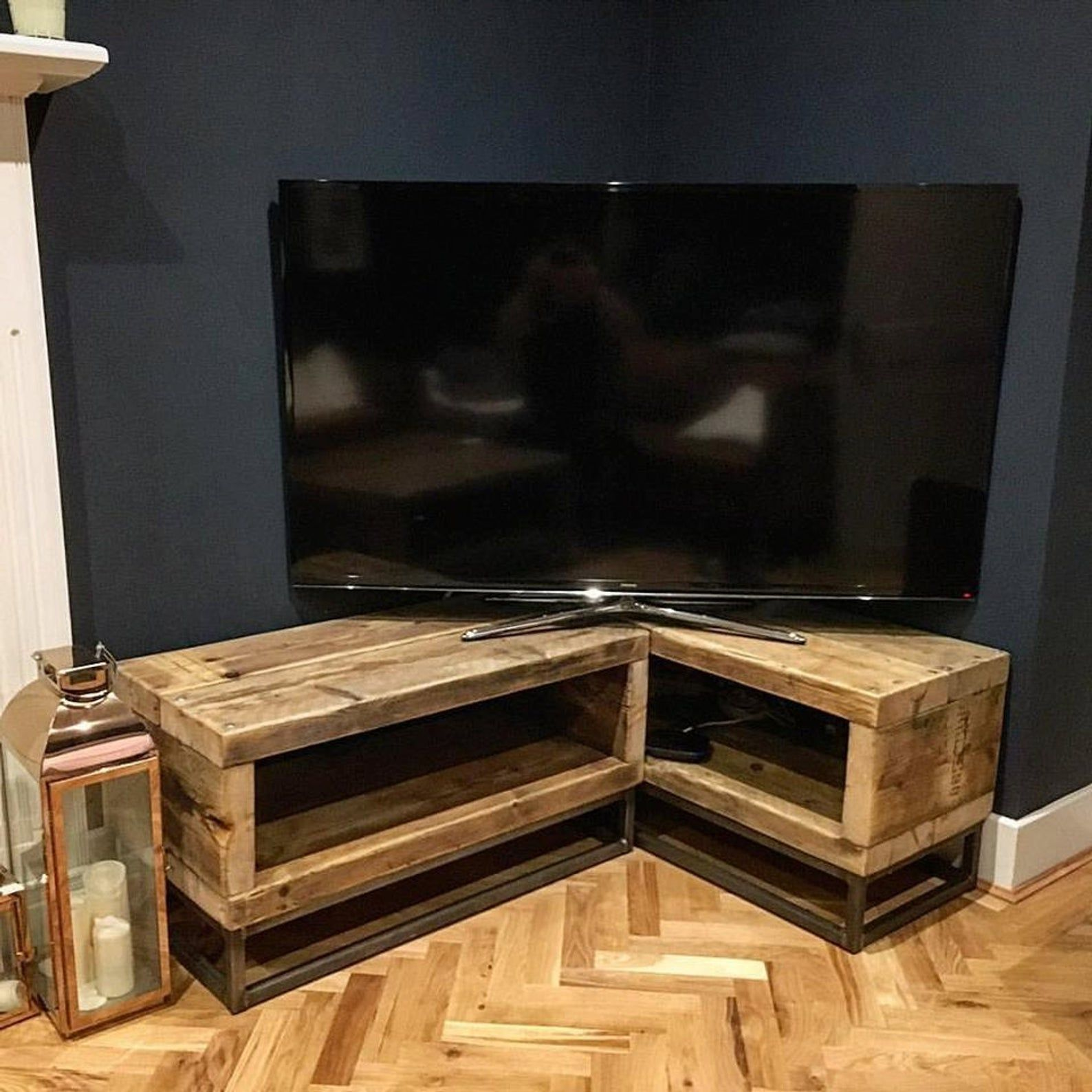 Industrial Chic Reclaimed Corner Tv Unit Stand Media Unit Steel Solid Wood Metal Hand Made In Sheffield 064 Corner Tv Unit Corner Tv Corner Tv Stands