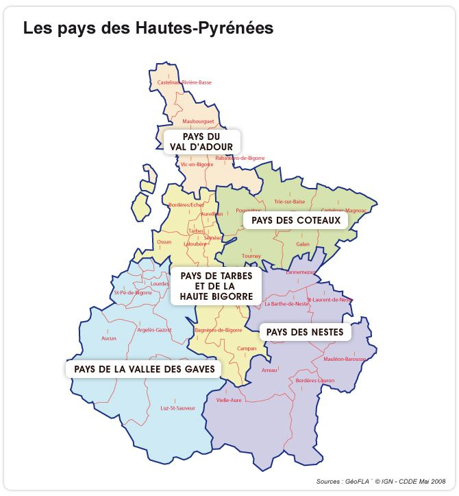 Carte Des Pays Des Hautes Pyrenees Hautes Pyrenees Reise Reisen