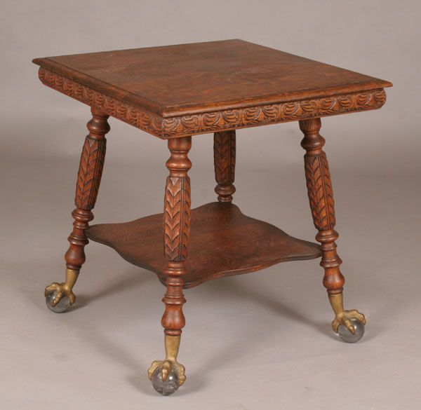 Delightful Victorian Carved Oak Lamp Table Claw/Ball Feet, Grandma Had One And Passed  It