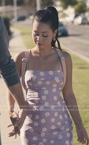 Maddy's purple daisy print dress on Euphoria #maddyeuphoriaoutfits