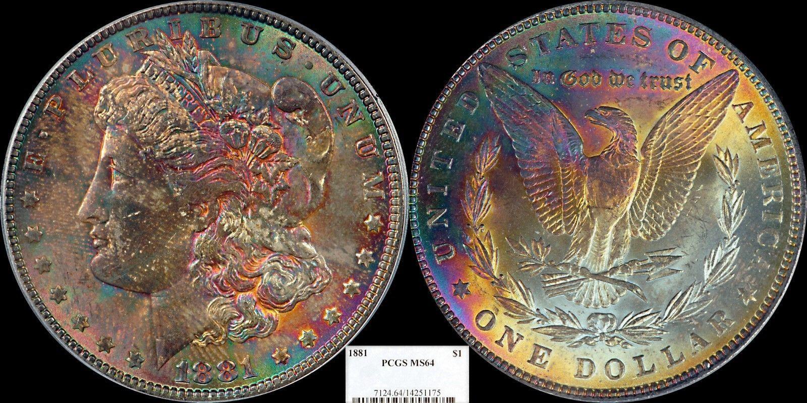 MONSTER TONED 1881(P) Morgan Silver Dollar PCGS MS64