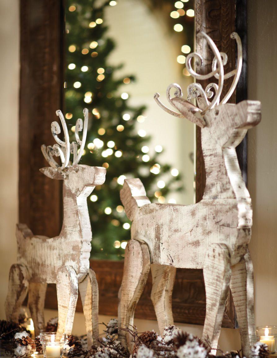 Whitewashed Barnwood Reindeer