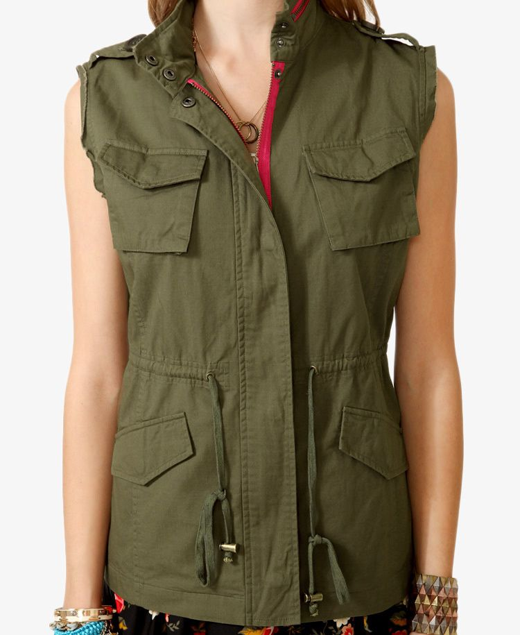 GOT IT! (Not exact, but similar enough, also from F21.) Frayed Utility Vest | FOREVER21 - 2019189945