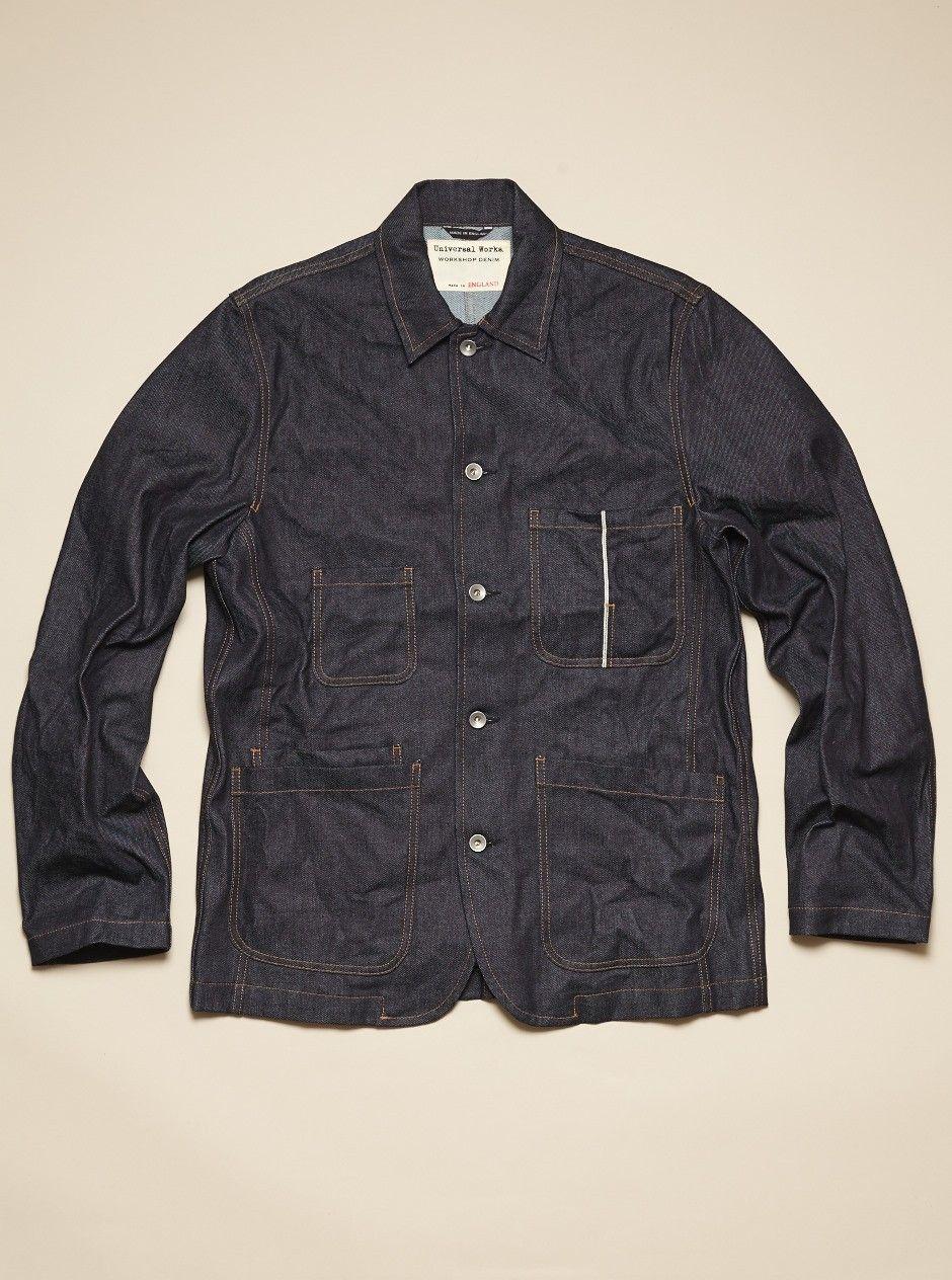 Universal Works Workshop Denim Indigo Bakers Jacket in Selvedge Denim