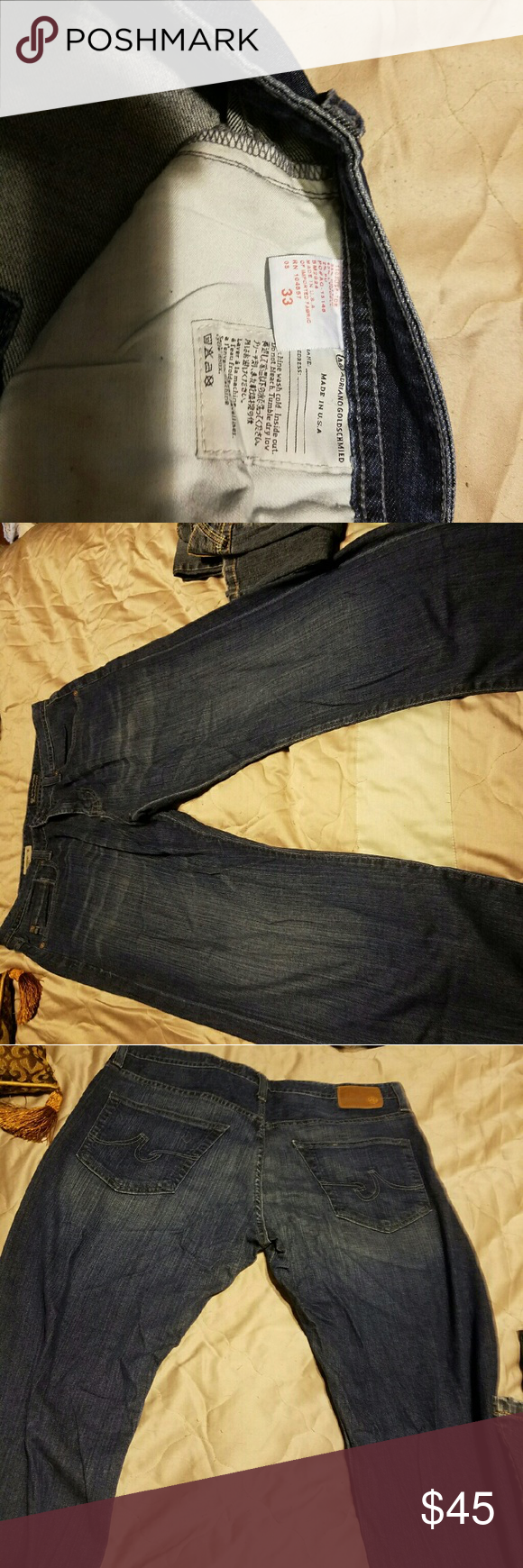 """Adrino Goldschmied Mens size 33 the Campaign loose AG ADRIANO GOLDSCHMIED """"the Campaign"""" Dark Straight Leg Jeans Men's Size 33 55% cotton 43% lyocell 2% pu  In excellent condition.     From clean and smoke free environment. AG Adriano Goldschmied Jeans"""