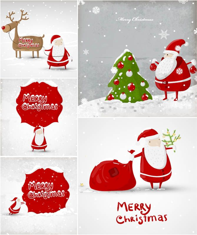 Set Of Vector Cartoon Santa Claus Christmas Cards Templates With Funny  Santa Illustrations, Christmas Tree And Reindeer For Your Greeting Card  Designs, ...