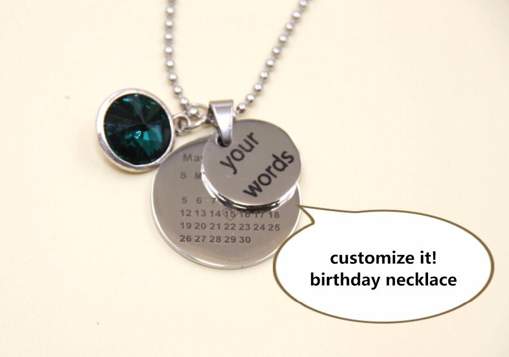 Birthstone necklaces custom pendant necklaces calendar date necklace birthstone necklaces custom pendant necklaces calendar date necklace birthdays personalized jewelry custom jewelry gift aloadofball Images