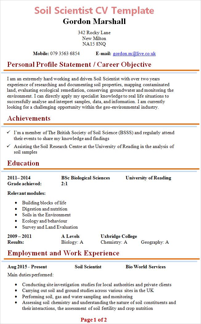 Cv Template Biology Resume Format Personal Statement Examples Resume Examples Cv Examples
