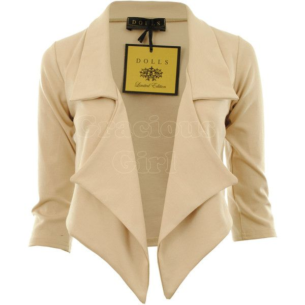Jaliyah New Womens Waterfall Blazer 3/4 Sleeve Ponte Ladies Blazer Jacket Coat found on Polyvore