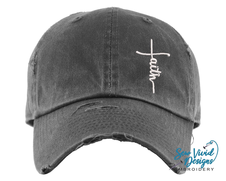 Faith hat distressed baseball cap or ponytail hat custom
