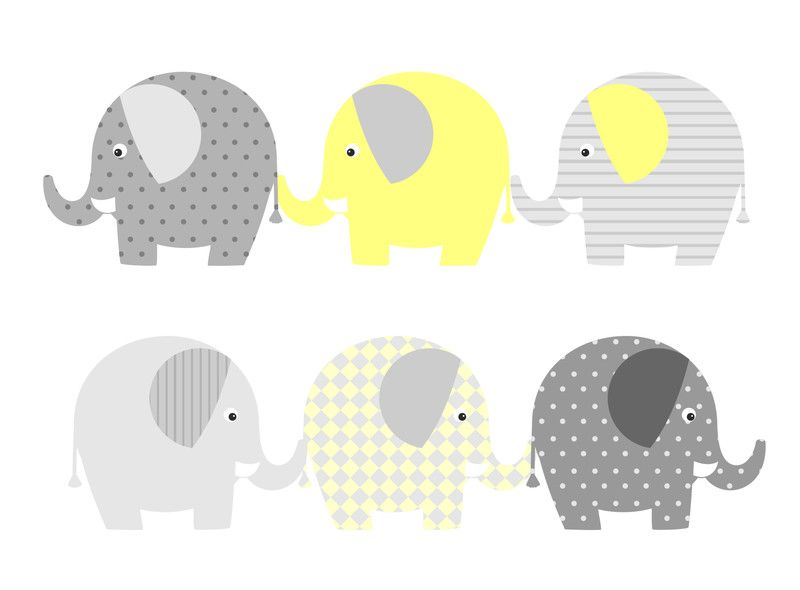 Wandgestaltung Wandtattoo Elefanten Gross Gelb Grau Ein