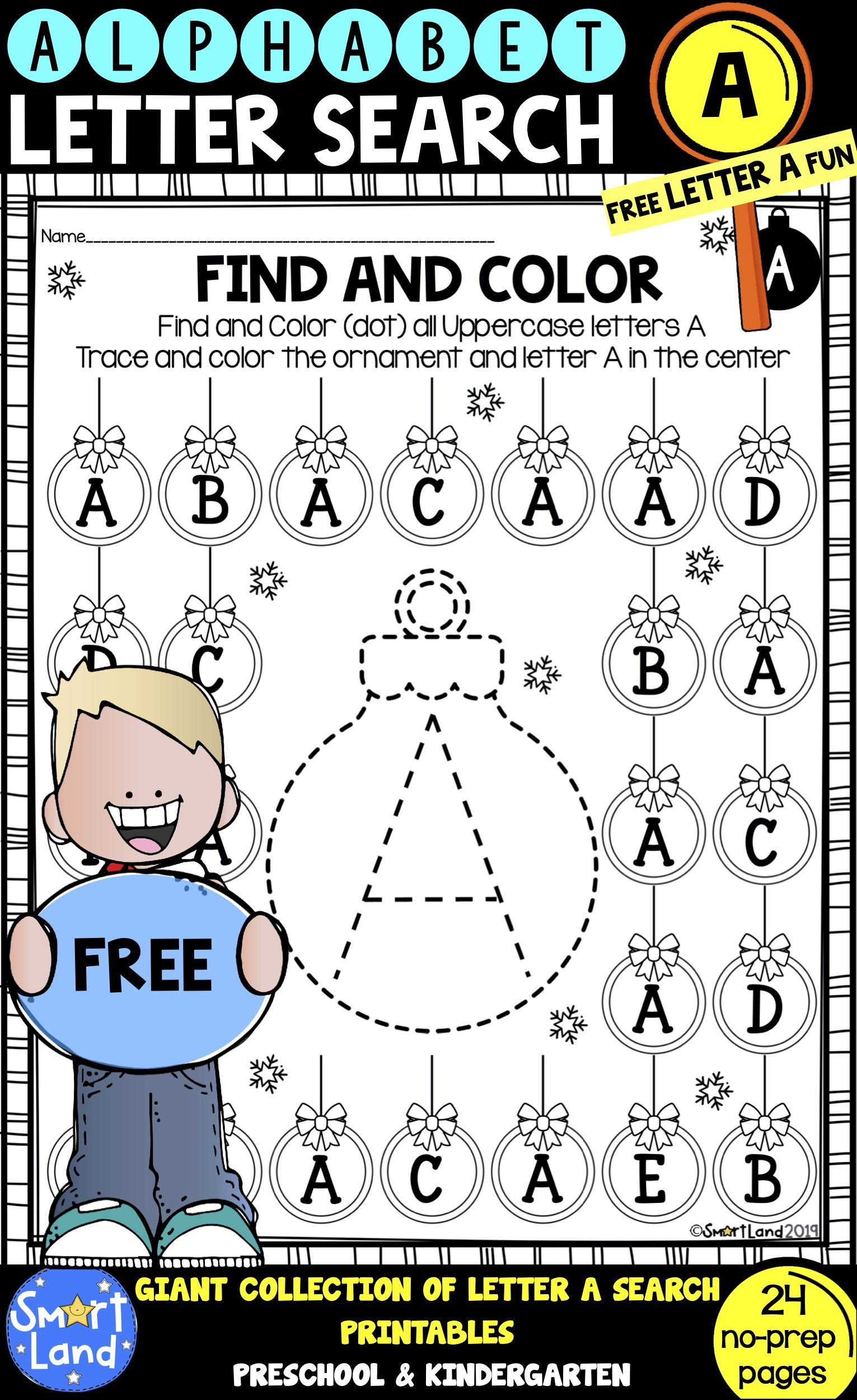 Alphabet Practice Free Letter A Search Worksheets Alphabet Practice Alphabet Activities Kindergarten Literacy Printables