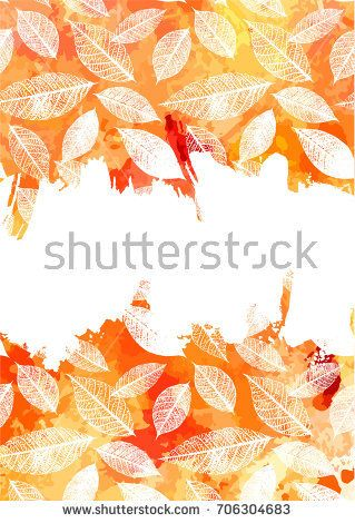 An autumn vector and watercolor background texture with yellow and an autumn vector and watercolor background texture with yellow and white brush strokes and leaves silhouettes stopboris Images