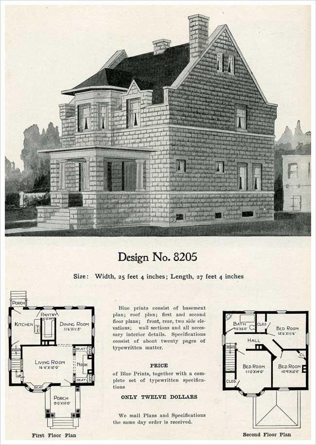 Model 8205 Cement Block House Plan Parapeted Gable