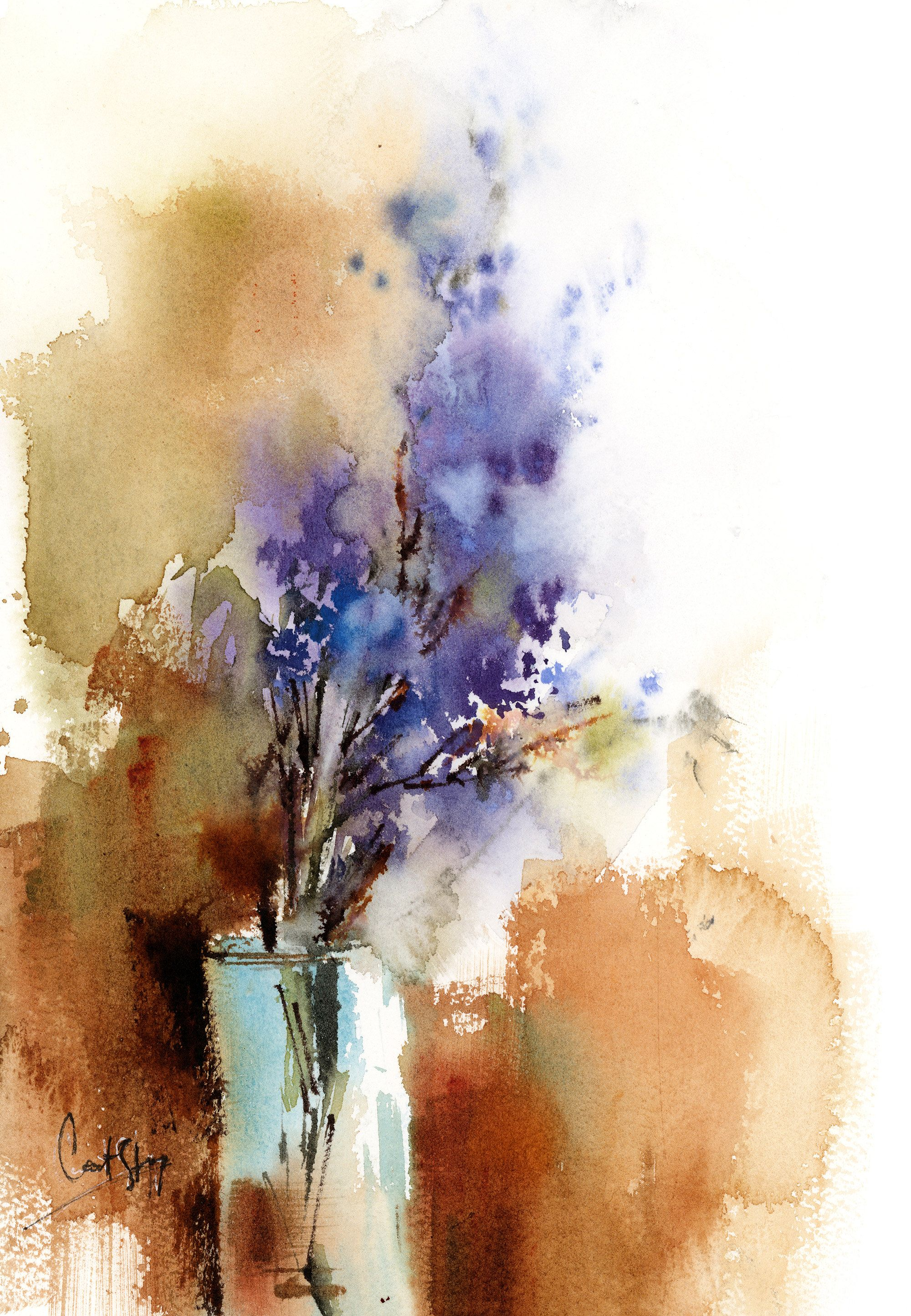 Lilac flowers original watercolor painting loose style
