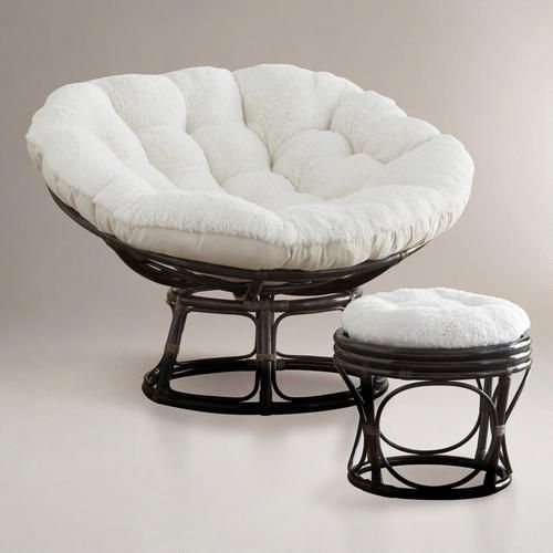 One Of My Favorite Discoveries At Worldmarket Ivory Faux Fur Papasan Cushion And Chair Frame Looks Reversible Want For Papasan Cushion Papasan Chair Papasan