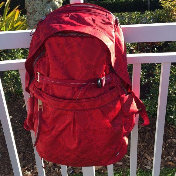 4061a35943 LULULEMON Pack It Up BackPack Gym Bag Laptop Stunning. Laptop and yoga mat.  Pocket for Water bottles too. Brand new Cranberry snake lululemon athletica  Bags ...