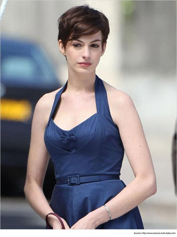 Short Hairstyles For Thick Hair For Actress Anne Hathaway