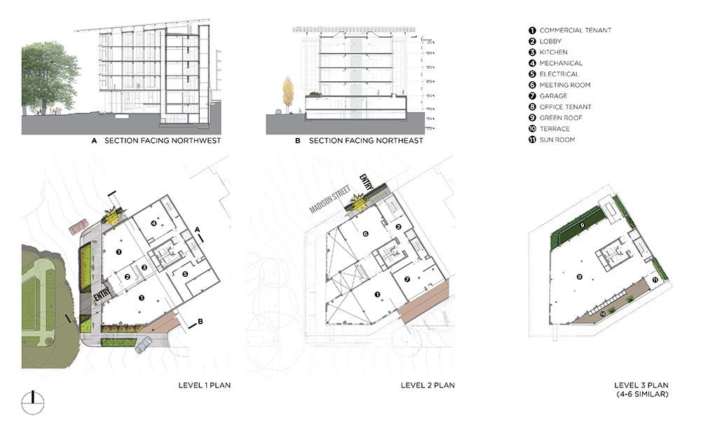 Site plan, floor plans, and section drawings for the