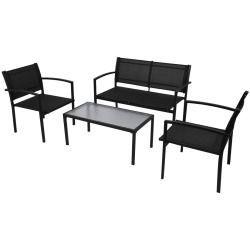 Vidaxl jeu de mobilier jardin 4 pièces avec banc noir | jardin ...