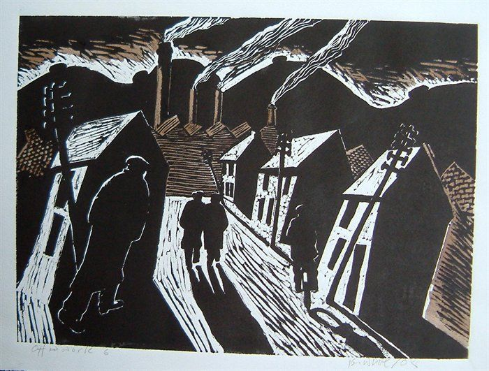 cityscape - Off to work-lino-cut by Ken White