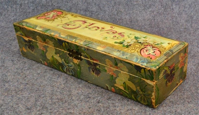 Antique wooden wood glove box floral paper cupid victorian