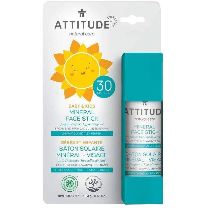 Attitude Natural Baby Kids Sunscreen Stick Spf 30 Fragrance Free 0 65 Oz 18 G Fragrance Free Products Sunscreen Stick Mineral Sunscreen