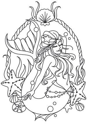 Mermaid Cameo design (UTH10447) from UrbanThreads.com