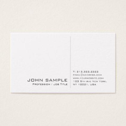 Creative Modern Professional Simple White Plain Business Card Zazzle Com Business Cards Creative Business Card Minimalist Business Cards Simple