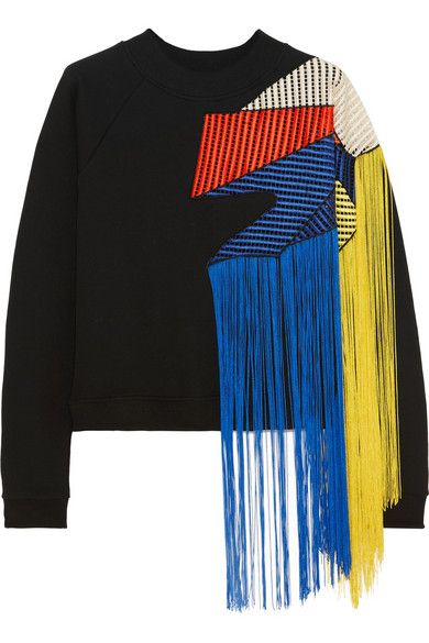 CHRISTOPHER KANE Fringed Crochet-Paneled Cotton-Jersey Sweatshirt. # christopherkane #cloth #