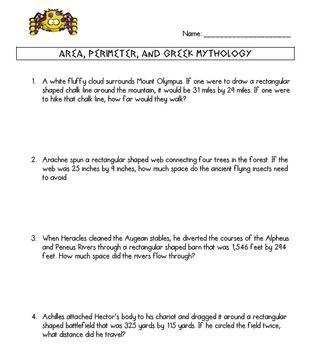 Area and Perimeter Word Problem Worksheet Greek Mythology ...
