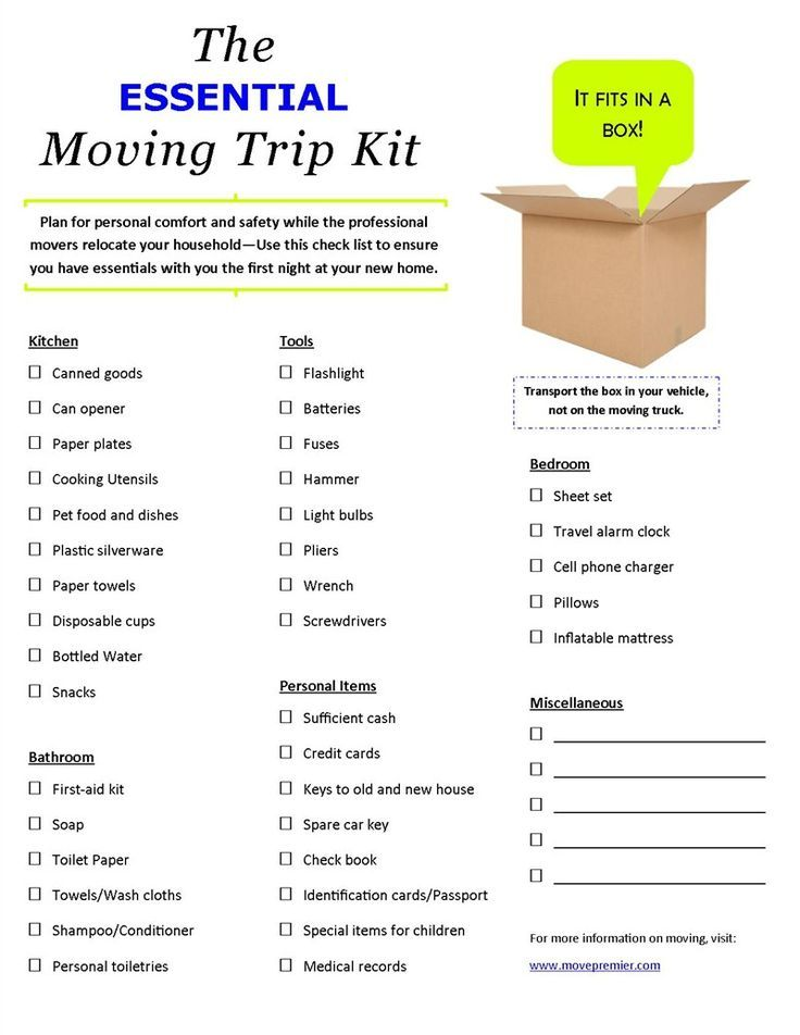 Use This Check List When Moving To Make Sure You Have All The Essentials For Your First Night In New Home Www Movepremier Movingtips