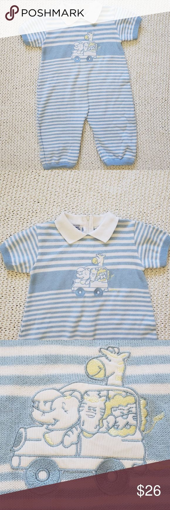 FRIEDKNIT Blue striped short sleeve coverall NWOT