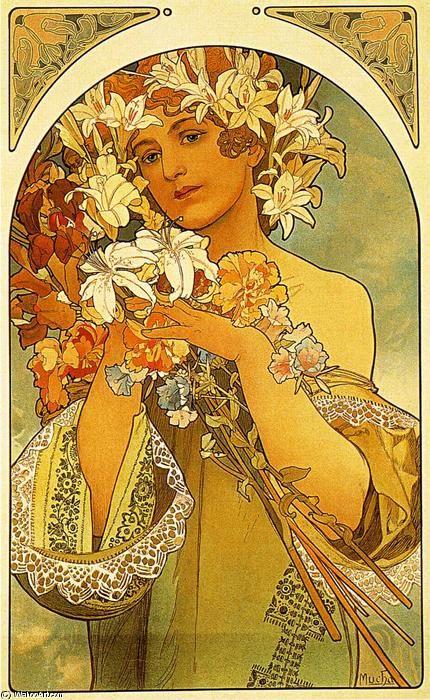 Flower, Oil by Alphonse Maria Mucha (1860-1939, Czech Republic)