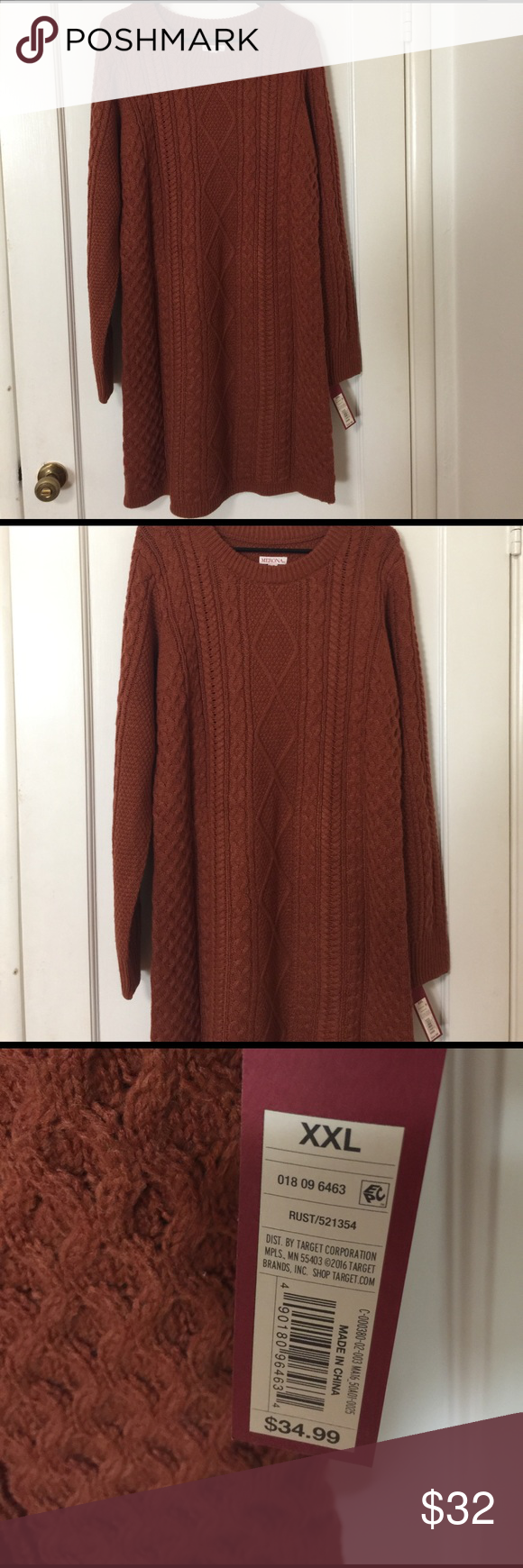 Cute Chunky Burnt Orange Sweater Dress NWT | Orange sweaters and ...
